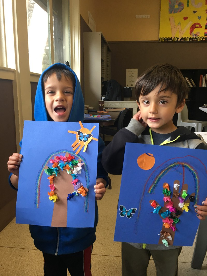Tiny Artists – Two Boys with their Mixed Media Projects